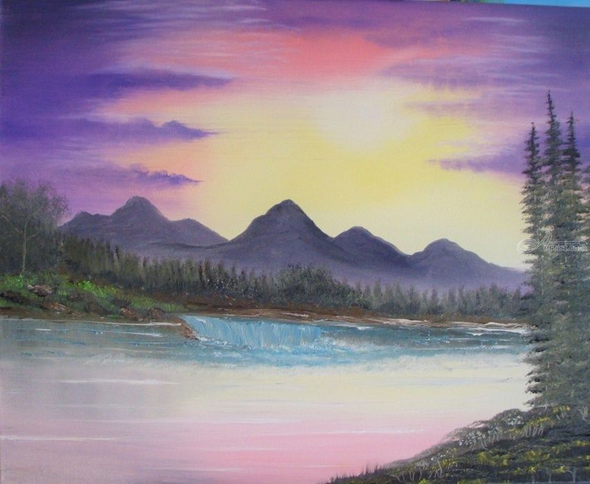 Purple Majestic, Paintings, Fine Art, Landscape, Canvas, Oil, Painting, By Lana karin Fultz