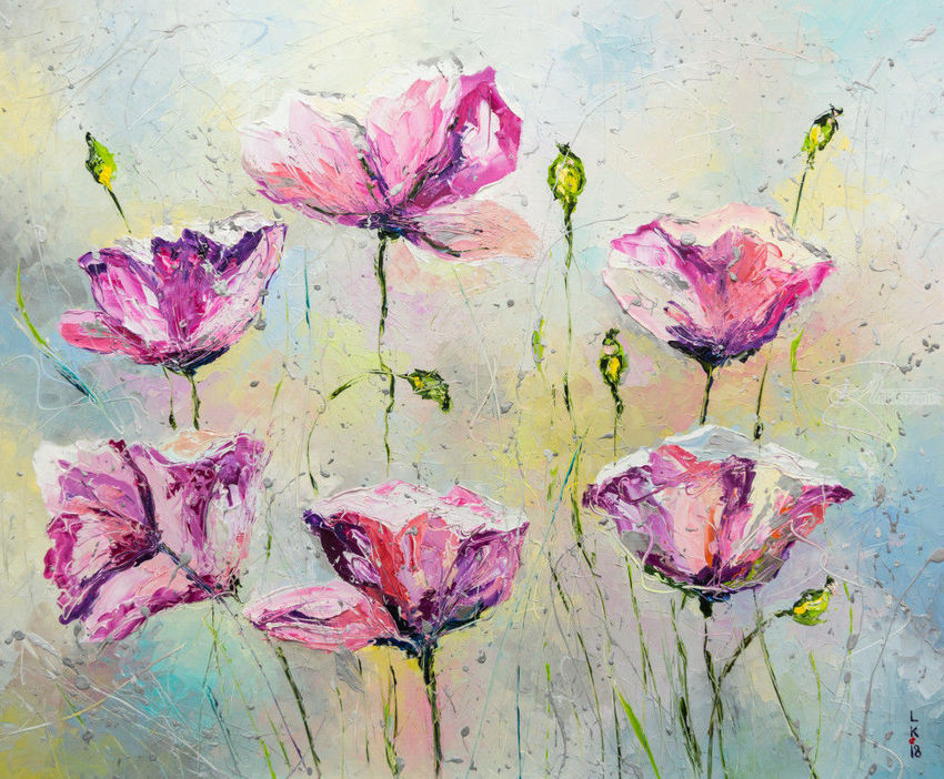 PURPLE POPPIES, Paintings, Impressionism, Botanical, Floral, Inspirational, Canvas, Oil, By Liubov Kuptsova