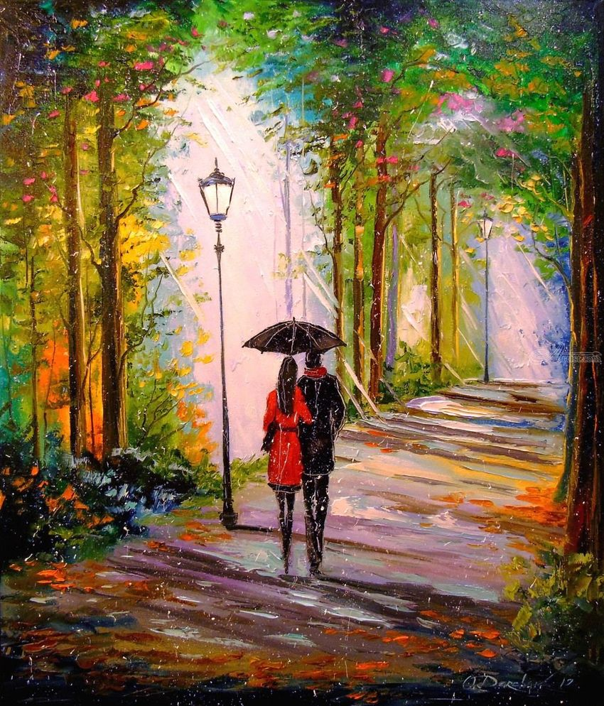 Rain and sun in the Park, Paintings, Impressionism, Botanical, Landscape, Nature, People, Canvas, Oil, Painting, By Olha   Vyacheslavovna Darchuk