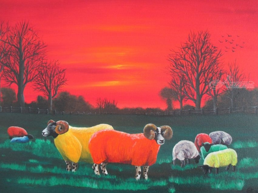 Rainbow Flock, Paintings, Fine Art,Impressionism,Surrealism, Animals, Acrylic,Canvas, By Ann Biddlecombe