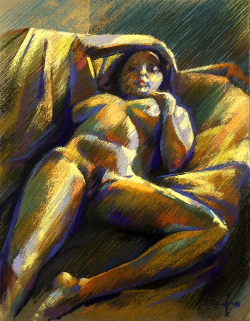 Reclining nude - 20-01-15, Drawings / Sketch, Abstract, Expressionism, Fine Art, Impressionism, Realism, Anatomy, Composition, Erotic, Figurative, Inspirational, Nudes, Pastel, By Corne Akkers