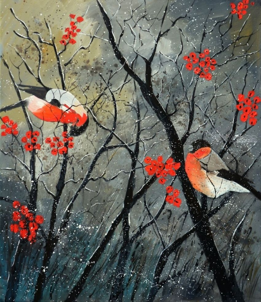 Red birds in winter, Paintings, Expressionism, Nature, Canvas, By Pol Henry Ledent