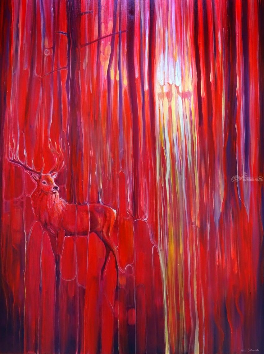 Red Forest Calls - original red oil painting with red deer in a red forest, Paintings, Expressionism, Animals, Landscape, Mythical, Nature, Wildlife, Oil, By Gill Bustamante