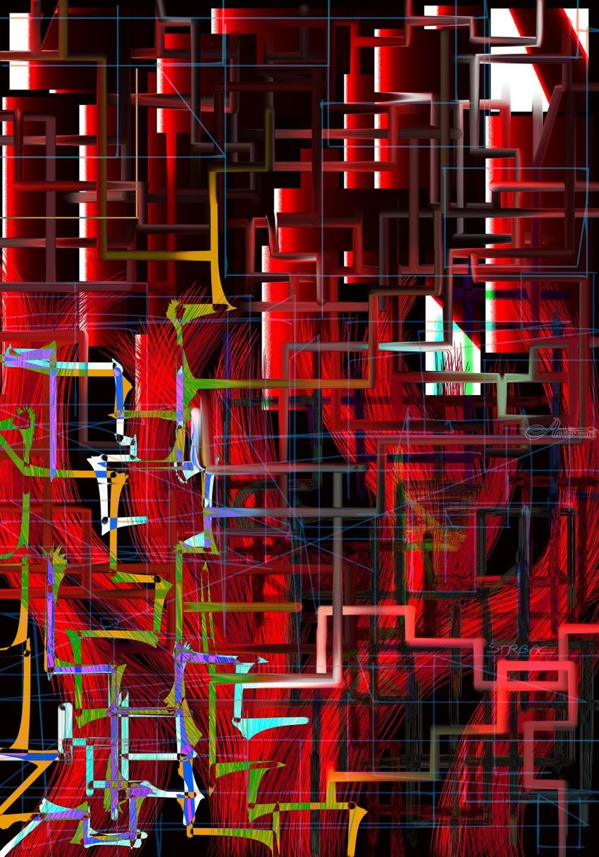 red installation, Digital Art / Computer Art, Modernism, Conceptual, Digital, By Nebojsa Strbac
