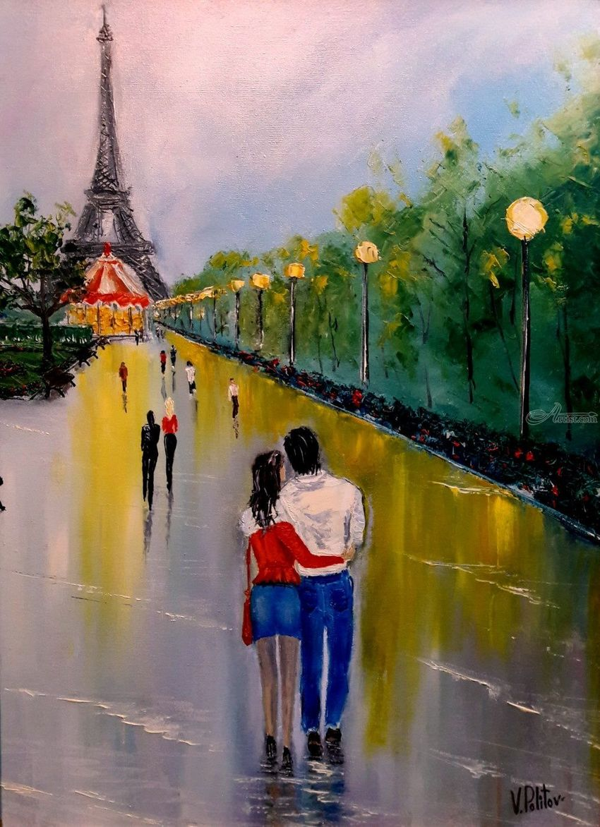 Rendezvous after the rain, Paintings, Impressionism, People, Canvas,Oil, By Valeriy Politov