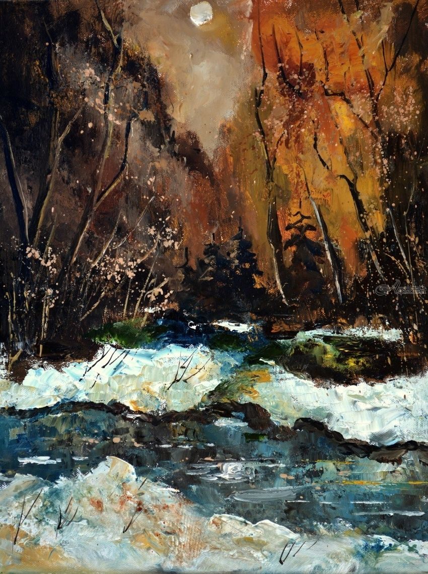 river in winter, Paintings, Expressionism, Botanical, Canvas, By Pol Henry Ledent