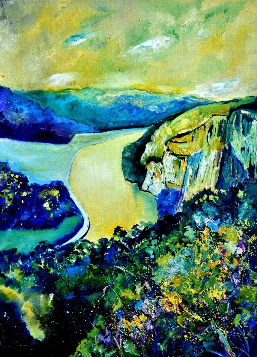 River Meuse, Paintings, Expressionism, Landscape, Canvas, By Pol Henry Ledent