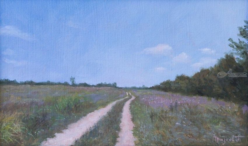 Road Through the Field, Paintings, Fine Art, Photorealism, Realism, Landscape, Nature, Oil, By Dejan Trajkovic