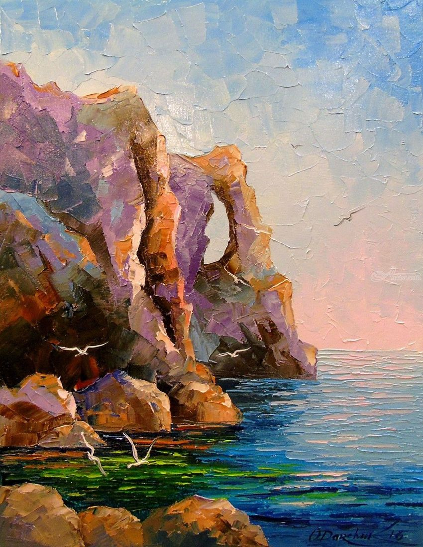 Rocky shore, Paintings, Expressionism, Impressionism, Botanical, Nature, Seascape, Canvas, Oil, Painting, By Olha   Vyacheslavovna Darchuk