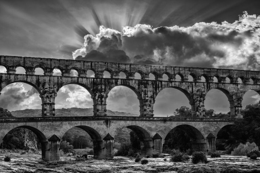 Roman Aqueduct, Photography, Photorealism, Architecture, Cityscape, Land Art, Landscape, Photography: Premium Print, By Mike DeCesare