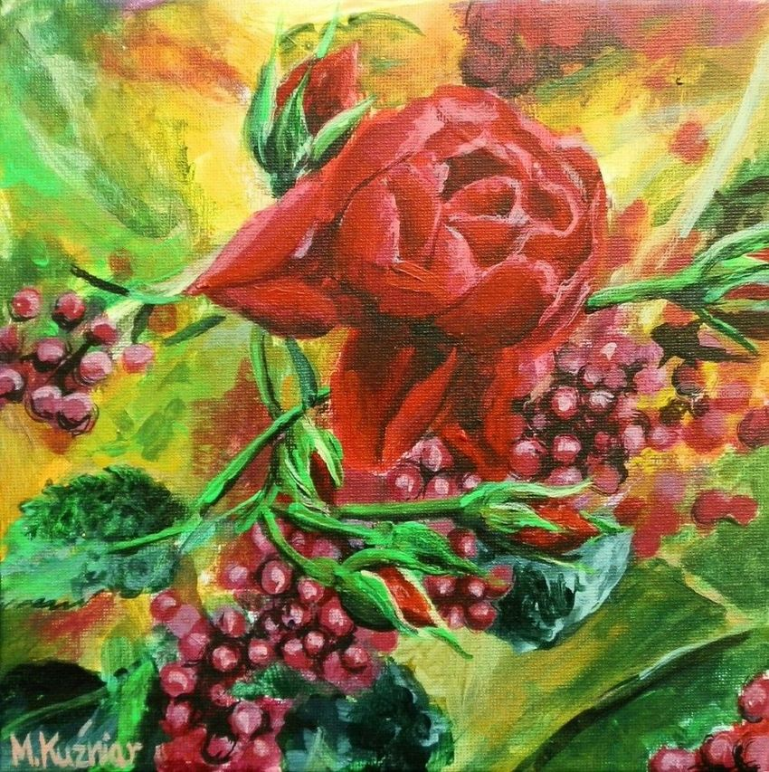 Rose, Paintings, Fine Art, Botanical,Decorative,Floral, Acrylic,Canvas, By Marta Kuźniar
