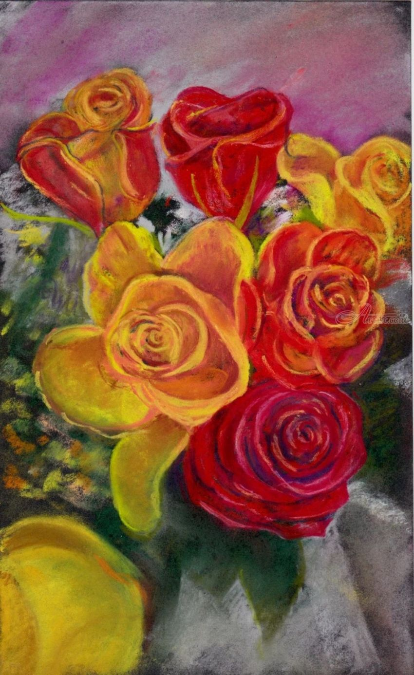 Roses, Paintings, Pastel, Impressionism, Realism, Botanical, Decorative, Floral, Still Life, Painting, Pastel, By Matthew David Evans