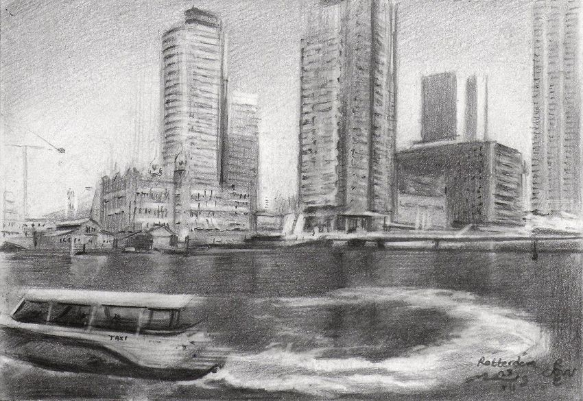 Rotterdam – 23-07-19, Drawings / Sketch, Fine Art, Impressionism, Realism, Architecture, Cityscape, Composition, Inspirational, Landscape, Pencil, By Corne Akkers