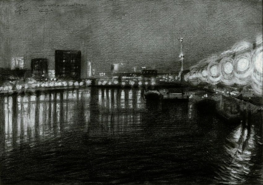 Rotterdam - Coolhaven - 02-03-16 (sold), Drawings / Sketch, Abstract,Impressionism,Realism,Surrealism, Architecture,Cityscape,Composition,Inspirational,Landscape,Seascape, Pencil, By Corne Akkers