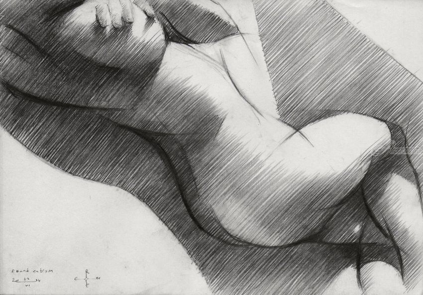 Round cubism - 22-06-14, Drawings / Sketch, Abstract, Cubism, Fine Art, Impressionism, Realism, Surrealism, Anatomy, Composition, Erotic, Figurative, Inspirational, Nudes, People, Pencil, By Corne Akkers