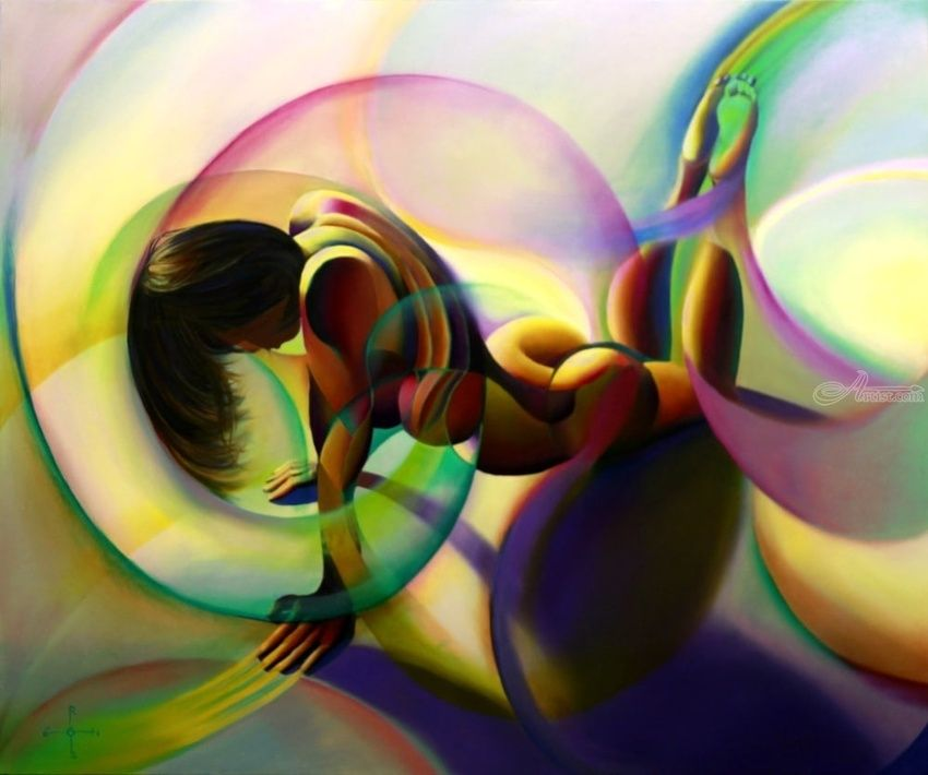 Roundism - 02-12-14, Paintings, Abstract, Cubism, Fine Art, Impressionism, Realism, Surrealism, Anatomy, Composition, Erotic, Figurative, Inspirational, Nudes, People, Oil, By Corne Akkers