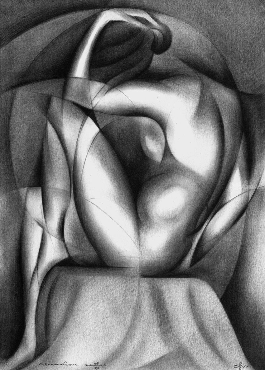 Roundism - 08-09-16 (sold), Drawings / Sketch, Abstract,Cubism,Fine Art,Realism,Surrealism, Anatomy,Composition,Erotic,Figurative,Inspirational,Nudes,People, Pencil, By Corne Akkers