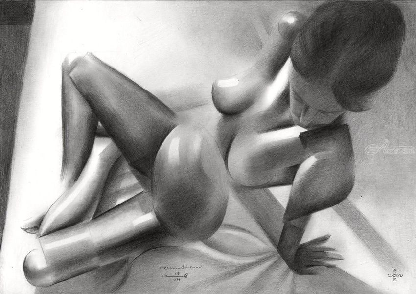 Roundism – 17-07-18, Drawings / Sketch, Abstract, Cubism, Fine Art, Realism, Surrealism, Anatomy, Composition, Erotic, Figurative, Inspirational, Nudes, People, Pencil, By Corne Akkers