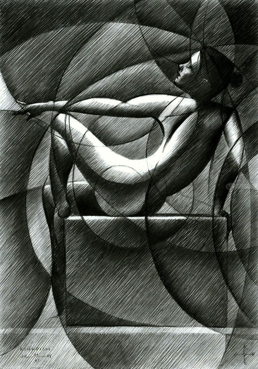 Roundism - 21-11-14, Drawings / Sketch, Abstract, Cubism, Fine Art, Impressionism, Realism, Surrealism, Anatomy, Composition, Erotic, Figurative, Inspirational, Nudes, People, Pencil, By Corne Akkers