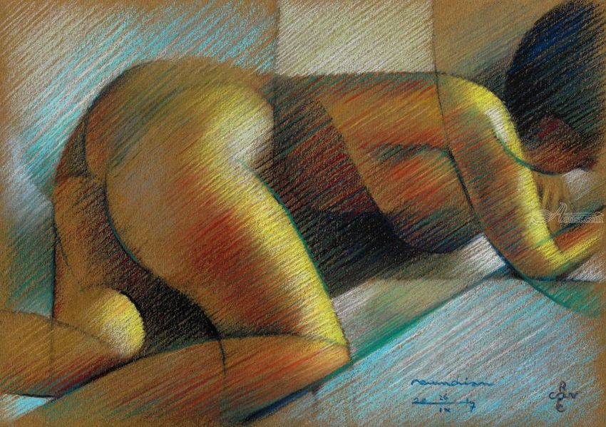 Roundism - 26-09-17, Drawings / Sketch, Cubism,Fine Art,Impressionism,Realism,Surrealism, Anatomy,Composition,Erotic,Figurative,Inspirational,Nudes,People, Pastel, By Corne Akkers