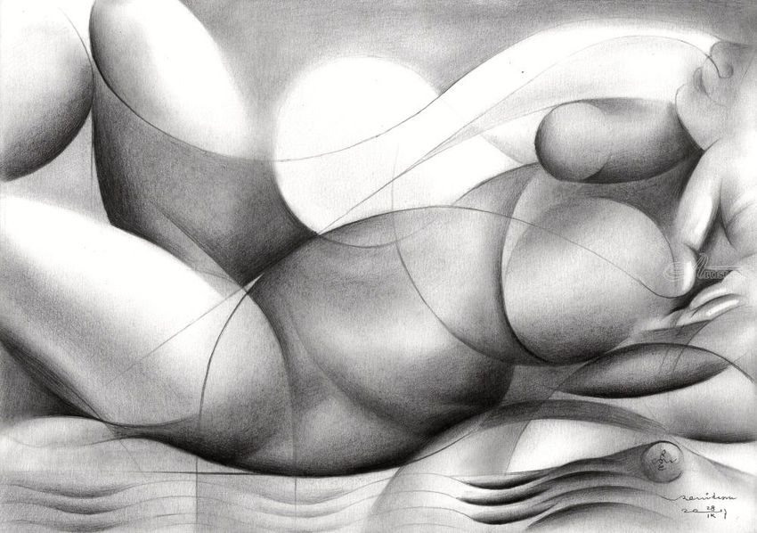 Roundism - 28-09-17, Drawings / Sketch, Abstract, Cubism, Fine Art, Surrealism, Anatomy, Composition, Erotic, Figurative, Inspirational, Nudes, People, Pencil, By Corne Akkers