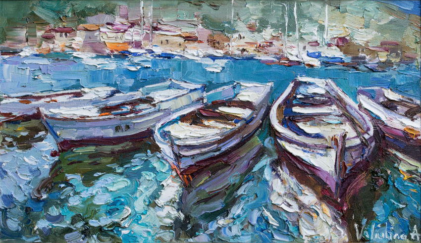 Rowing boats in the bay Original oil painting, Paintings, Impressionism, Landscape, Seascape, Oil, By Anastasiya Valiulina
