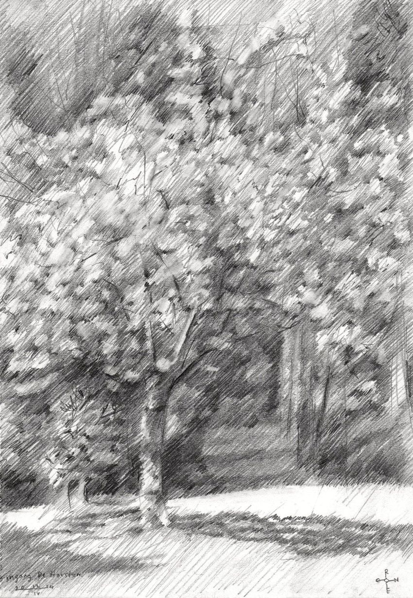 Royal estate 'De Horsten' - 12-04-14, Drawings / Sketch, Abstract,Impressionism,Realism, Composition,Figurative,Inspirational,Landscape,Nature, Pencil, By Corne Akkers