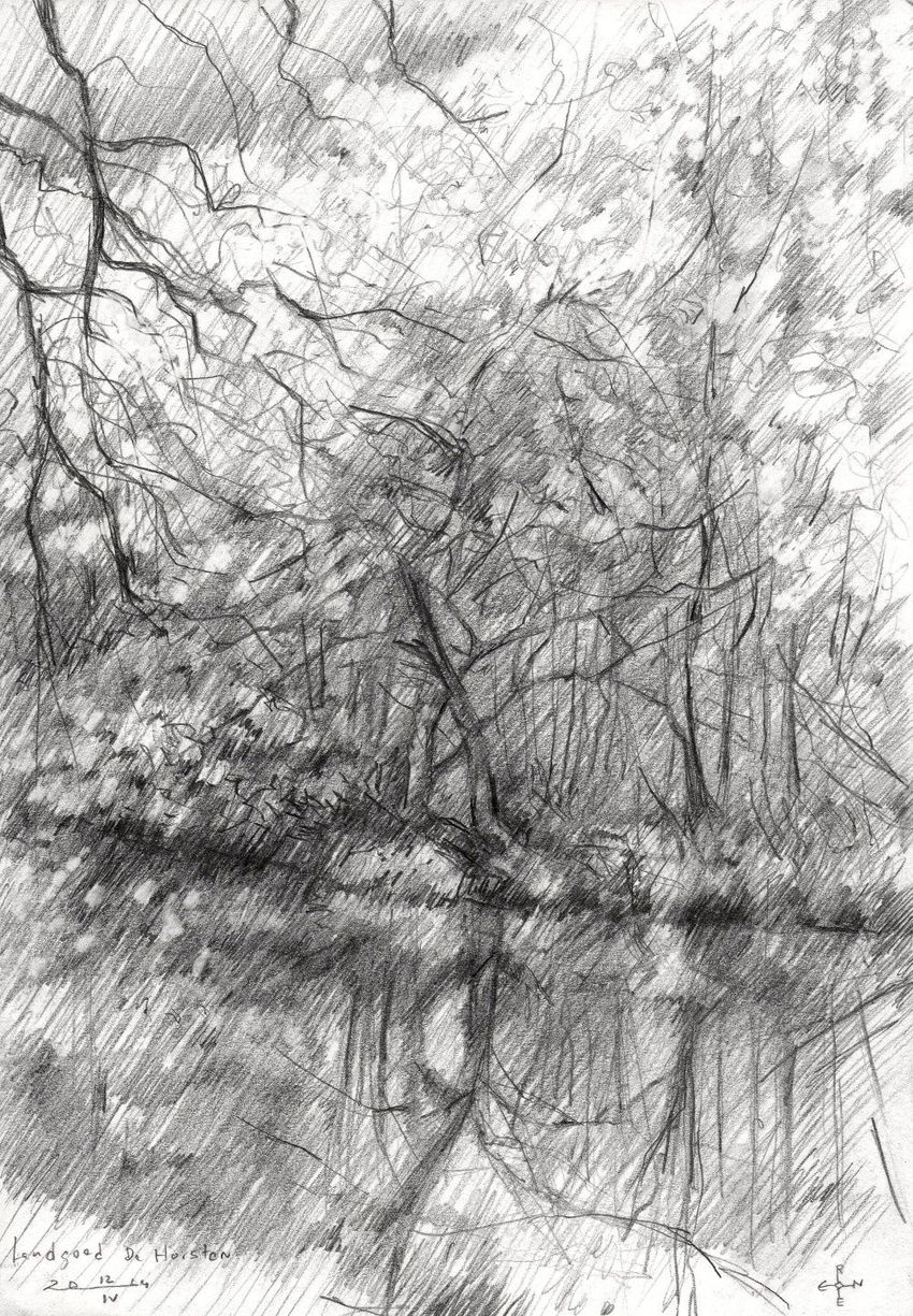 Royal estate 'De Horsten' - 14-04-14, Drawings / Sketch, Abstract,Fine Art,Impressionism,Realism, Composition,Figurative,Inspirational,Landscape,Nature, Pencil, By Corne Akkers