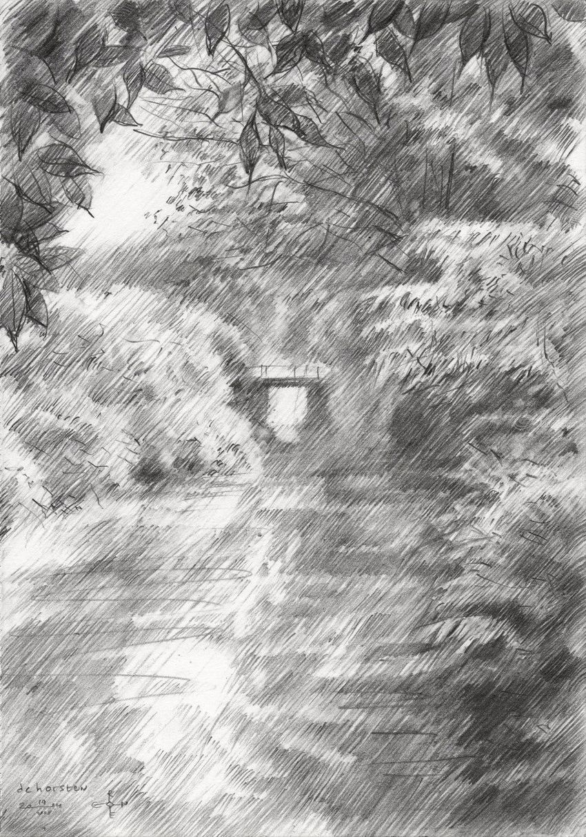 Royal Estate De Horsten - 19-07-14, Drawings / Sketch, Abstract, Fine Art, Impressionism, Realism, Composition, Figurative, Inspirational, Landscape, Nature, Pencil, By Corne Akkers