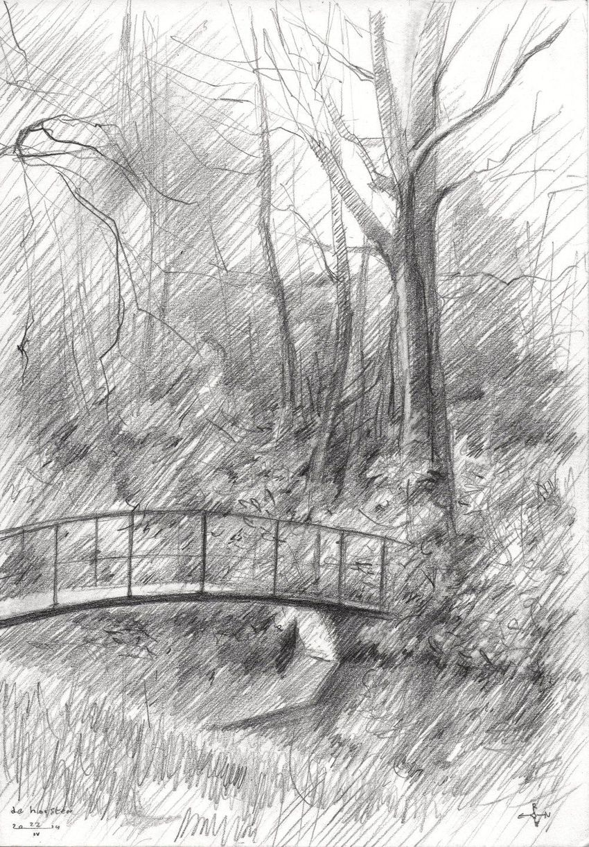 Royal estate 'De Horsten' - 22-04-14, Drawings / Sketch, Fine Art, Impressionism, Realism, Composition, Figurative, Inspirational, Landscape, Nature, Pencil, By Corne Akkers