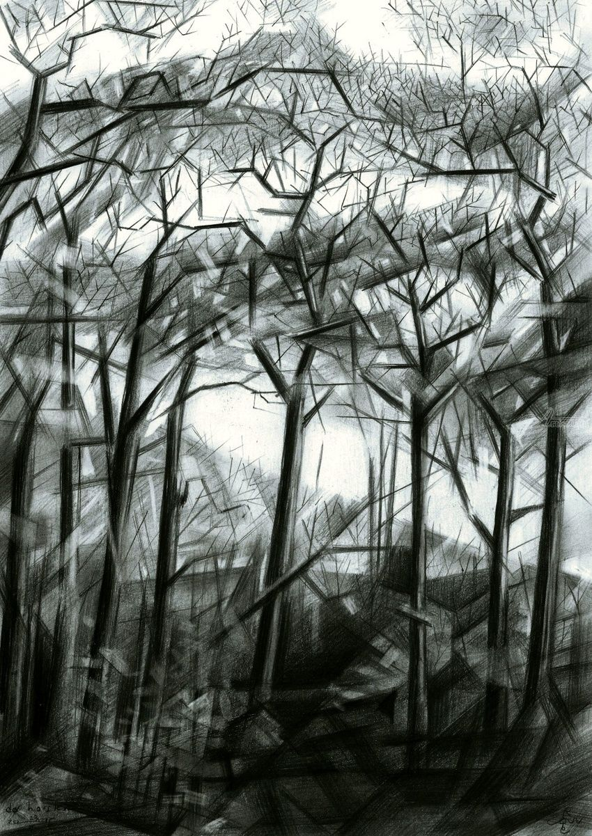 Royal Estate 'De Horsten' - 23-10-15, Drawings / Sketch, Abstract, Cubism, Fine Art, Impressionism, Realism, Surrealism, Composition, Figurative, Inspirational, Landscape, Nature, Pencil, By Corne Akkers