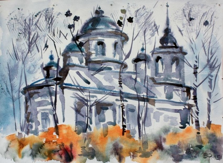 Russian church, Paintings, Minimalism, Architecture, Watercolor, By Victor Ovsyannikov