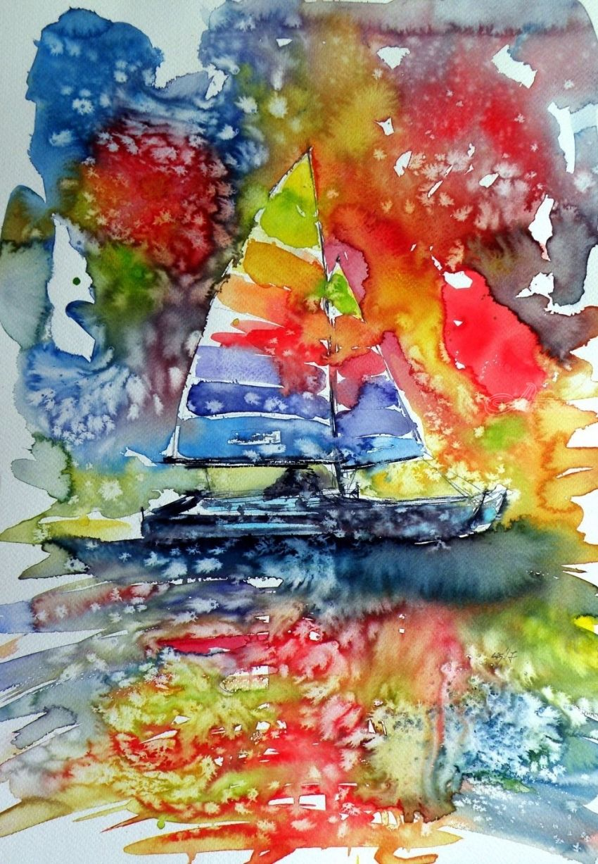 Sailboats at sunset II, Paintings, Impressionism, Seascape, Watercolor, By Kovacs Anna Brigitta