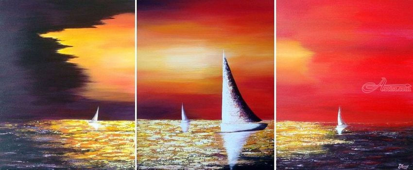 Sailing Before the Storm, Paintings, Abstract, Expressionism, Nature, Seascape, Acrylic, By Tanya Hansen