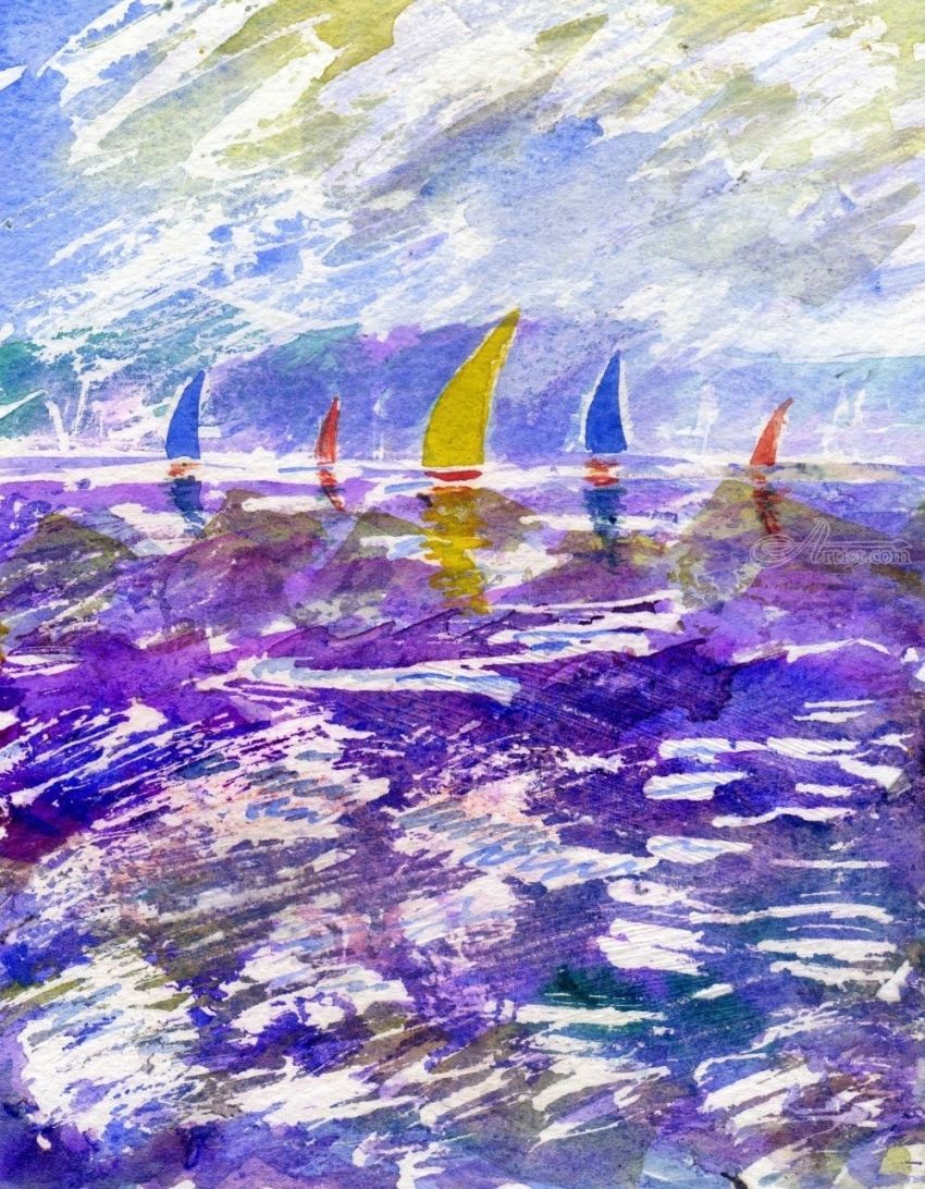 Sailing Race, Paintings, Fine Art, Impressionism, Realism, Seascape, Mixed, Watercolor, By Matthew David Evans