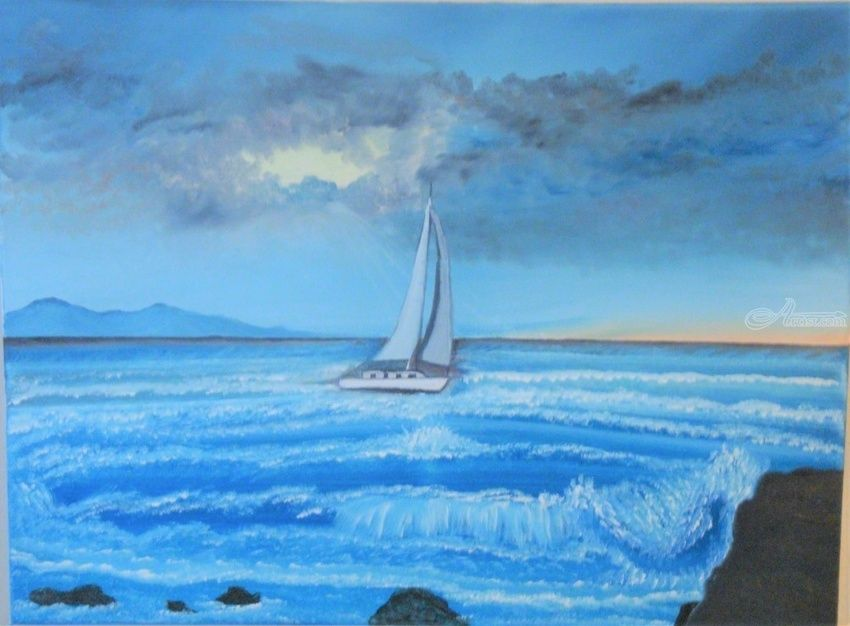 Sailing Through the Storm, Paintings, Fine Art, Landscape, Canvas,Oil,Painting, By Lana karin Fultz