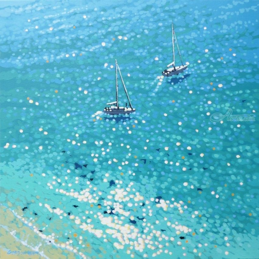 Sailing the turquoise waters, Paintings, Impressionism, Seascape, Acrylic, By Gordon Hunt