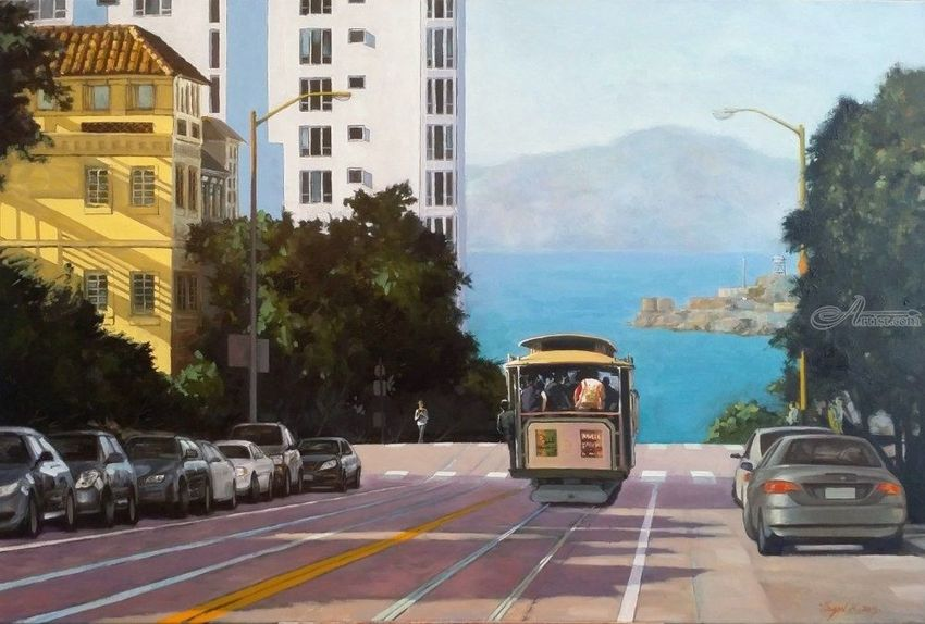 San Francisco Bay View, Paintings, Impressionism, Cityscape, Canvas, Oil, By Mason Mansung Kang