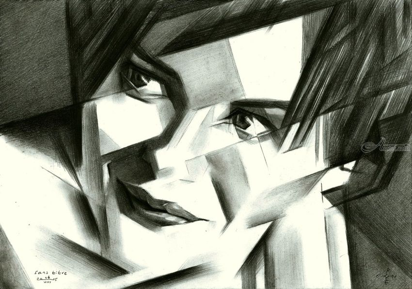 Sans titre - 06-08-15, Drawings / Sketch, Abstract, Cubism, Fine Art, Impressionism, Realism, Surrealism, Composition, Figurative, Inspirational, People, Portrait, Pencil, By Corne Akkers