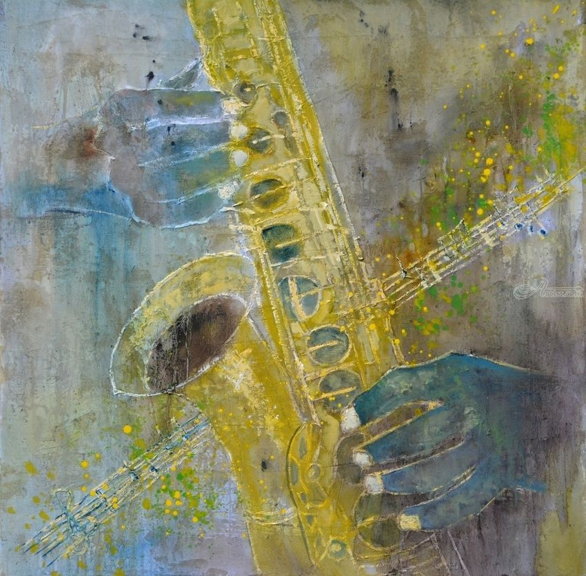 Sax 7761, Paintings, Expressionism, Music, Canvas, By Pol Henry Ledent