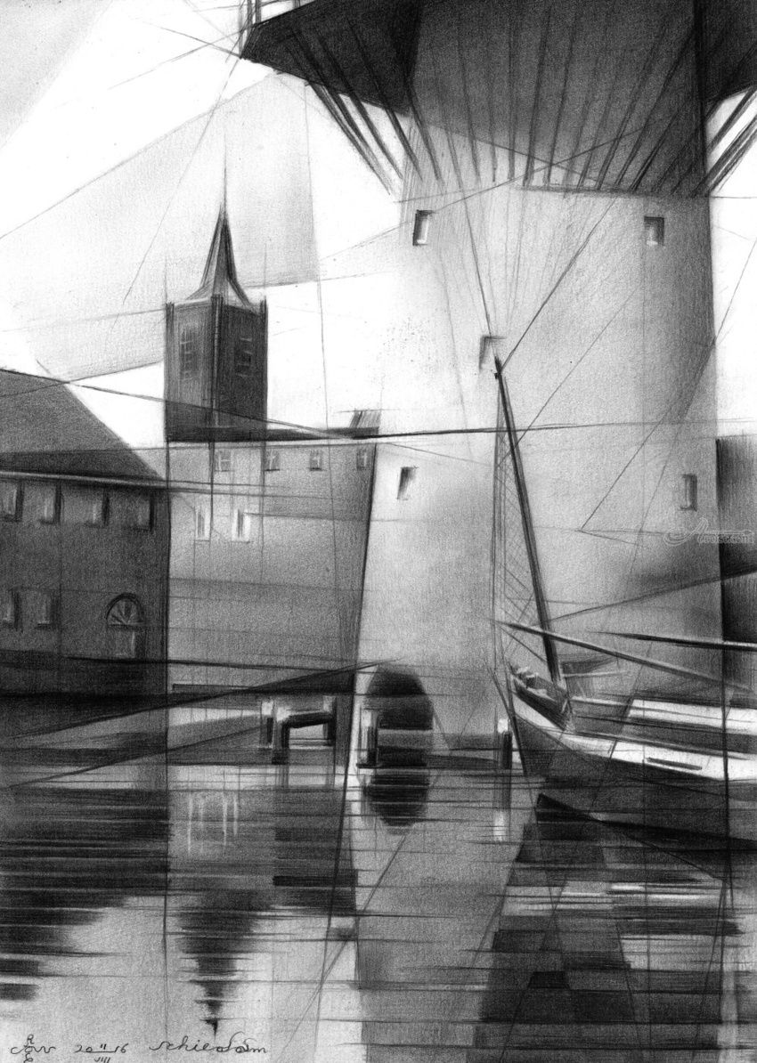 Schiedam - 11-08-16 (sold), Drawings / Sketch, Abstract,Cubism,Fine Art,Impressionism,Realism, Architecture,Cityscape,Composition,Inspirational,Landscape, Pencil, By Corne Akkers