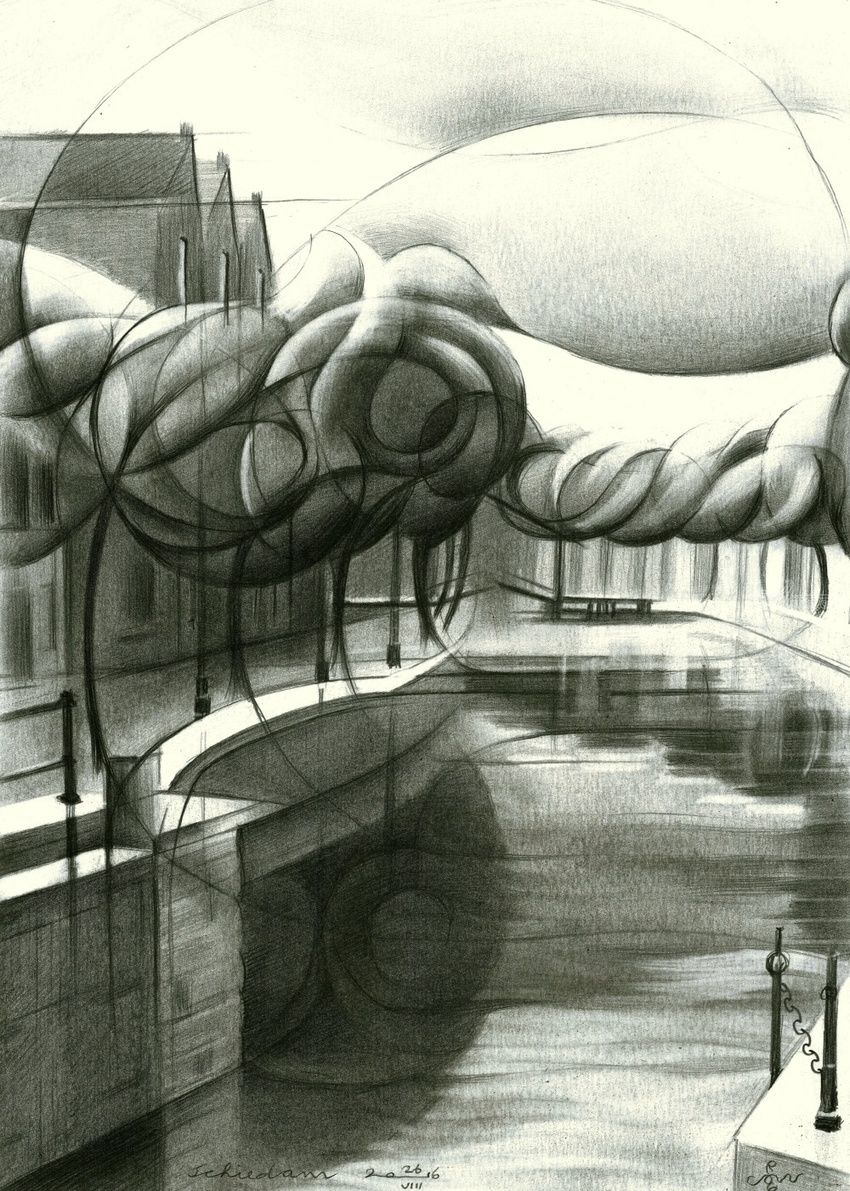 Schiedam 26-08-16 (sold), Drawings / Sketch, Abstract,Cubism,Fine Art,Impressionism,Realism,Surrealism, Architecture,Cityscape,Composition,Figurative,Inspirational,Landscape, Pencil, By Corne Akkers