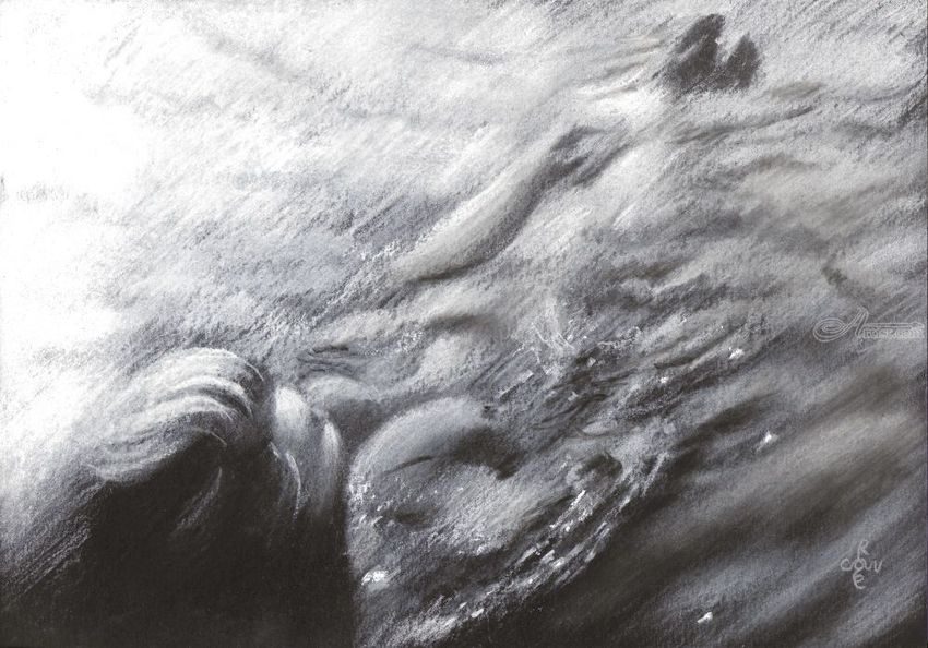 Sea swimming – 30-07-20, Drawings / Sketch, Fine Art, Impressionism, Realism, Anatomy, Composition, Figurative, Inspirational, Landscape, Nature, People, Pastel, By Corne Akkers