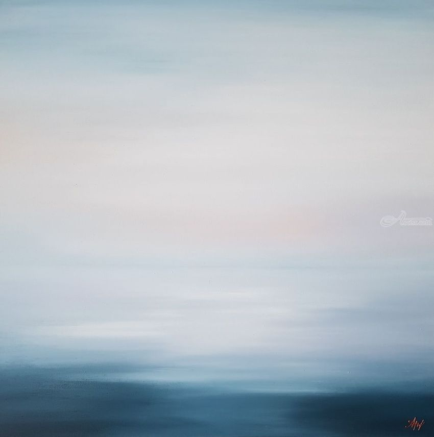 Seascape painting So tender are my memories, Paintings, Minimalism, Photorealism, Realism, Nature, Canvas, By Larissa Uvarova