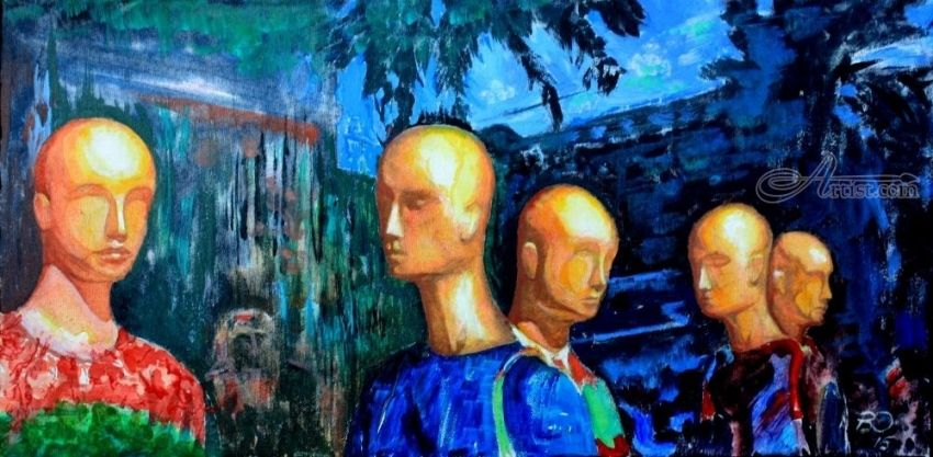 Serious conversation., Paintings, Surrealism, Humor, Acrylic, Canvas, By Victor Ovsyannikov