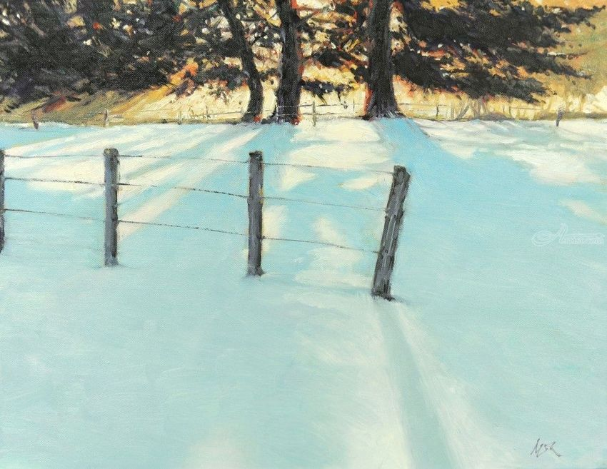 Shadows on the Snow, Paintings, Impressionism, Landscape, Canvas, Oil, By Mason Mansung Kang