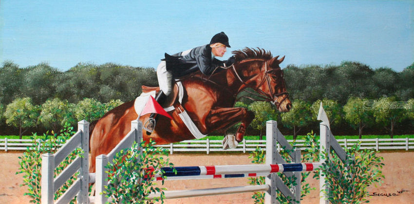 Show Jumper, Paintings, Fine Art, Realism, Animals, Figurative, People, Canvas, By Rick Seguso