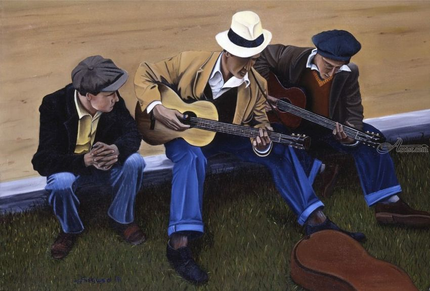 Side of the Road, Paintings, Fine Art, Realism, Daily Life, Figurative, Music, People, Portrait, Canvas, By Rick Seguso