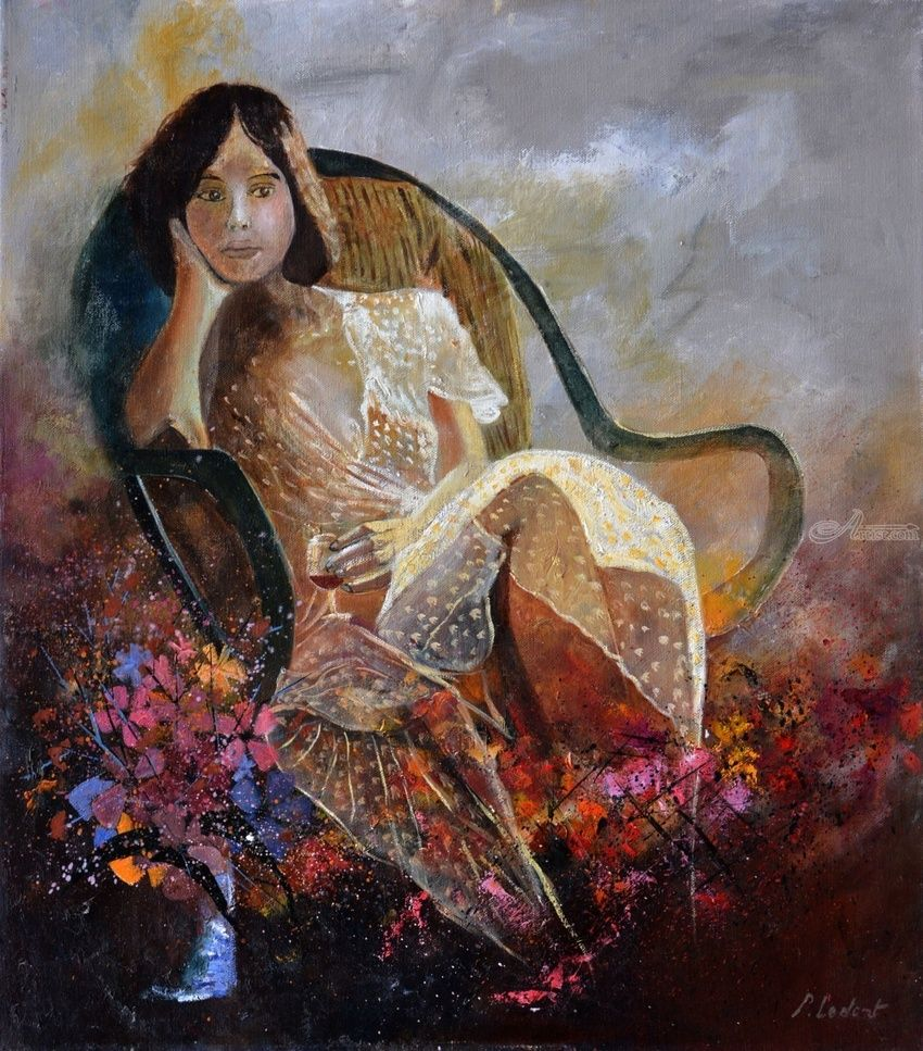 Sittting young girl, Paintings, Expressionism, Figurative, Canvas, By Pol Henry Ledent