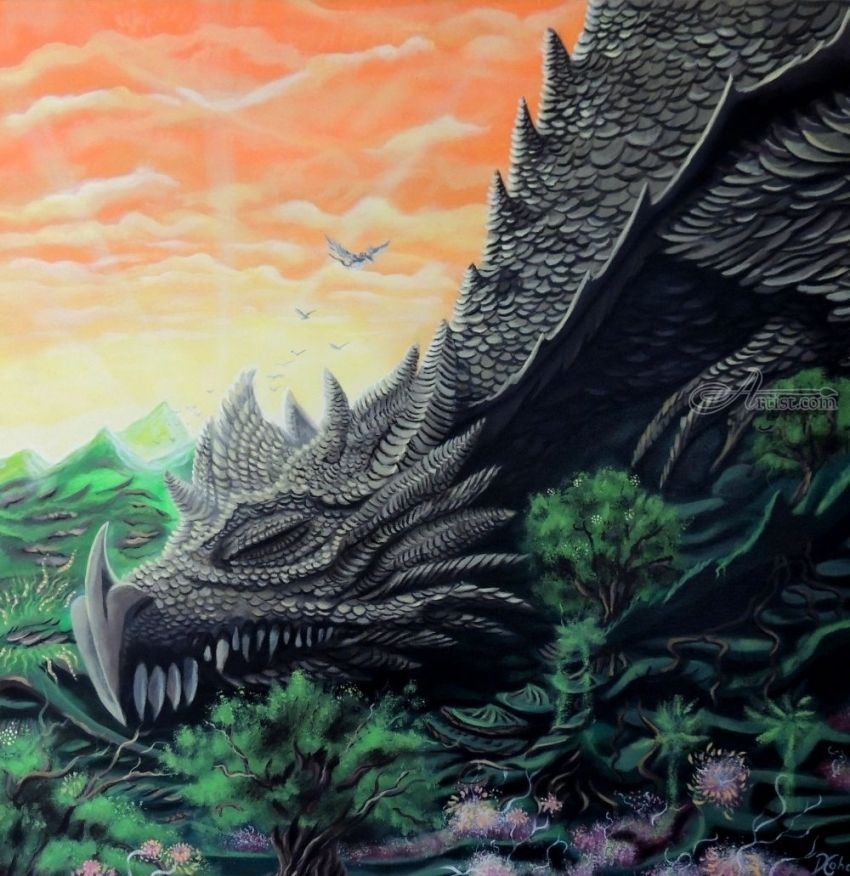 Sleeping dragon, Paintings, Existentialism,Expressionism,Fine Art,Symbolism, Animals,Fantasy,Mythical,Nature,Spiritual,The Unconscious, Acrylic,Canvas,Painting, By Daron Maurice Cohen